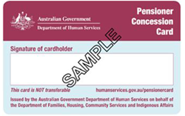 Centerlink Pensioner Concession Card